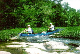 The authors, on the Cahaba River (left, Tim Stevens, right, Jim Allison). Photo by Jim Rodgers.